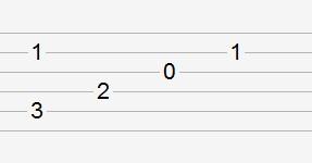 同时按两根弦的六线谱